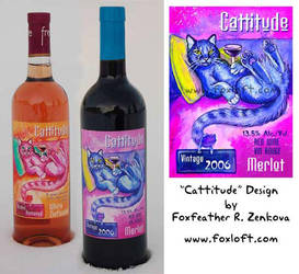 Cattitude Wine Label by Foxfeather248