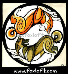 Yin Yang Dogs - Akitas by Foxfeather248