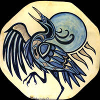 'Heron Dance' painted drum by Foxfeather248