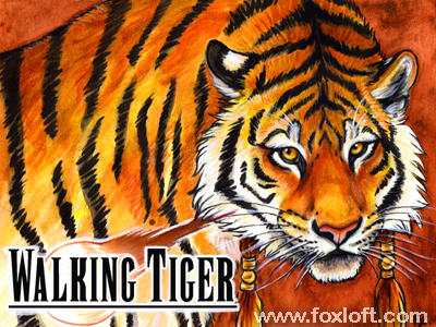 Walking Tiger Watercolor Badge by Foxfeather248