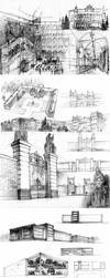 architectural sketches by akreon