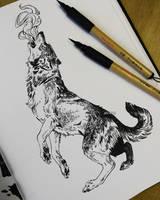 brush pen wolf by akreon