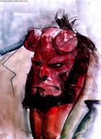 gouache hellboy by rogercruz
