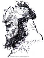 Hellboy face by rogercruz