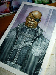 Pic Nick Fury watercolor by rogercruz