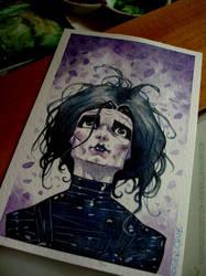 Edward scissorhands watercolor pic by rogercruz
