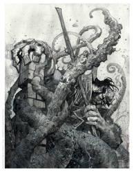 hellboy watercolor by rogercruz