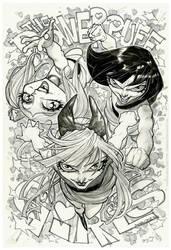 The Powerpuff Girls_inks_watercolor greytones by rogercruz