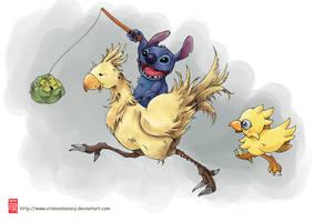 Stitch n' Chocobo by CrimsonLunacy