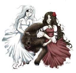 Snow White, Rose Red, and Bear by Flutterby727