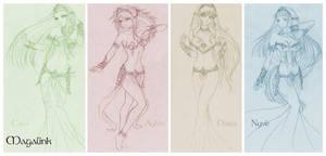 The four Goddesses - sketch by MrsMagalink