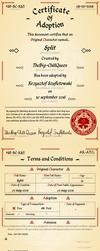 Certificate of Adoption - Split by Szufla