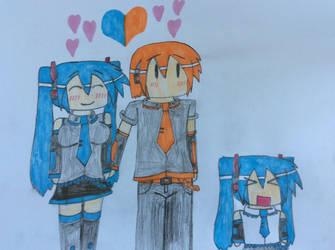 Miku, Nestie and Chibi-Miku by NestieBot