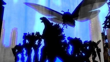 Godzilla and Transformers: Powers Apart Them Scene by NestieBot
