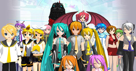 Godzilla and Transformers The Vocaloids Group by NestieBot