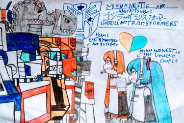 Earth Monsters and Autobots with Vocaloid Couple by NestieBot
