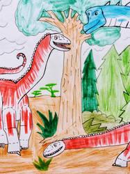 2 Dicraeosaurus and a Giraffatitan by NestieBot