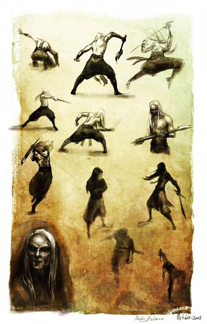Action sketches+ Nuada again. by BabushkaYaga
