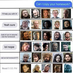 Homework Meme: Game of Thrones Edition by Party9999999