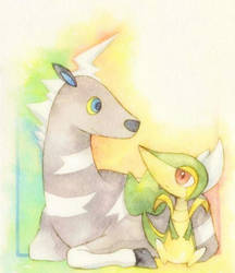 Snivy and Blitzle by refla29