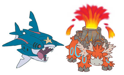 Mega Sharpedo and Mega Camerupt -FKMN- by Seyanni