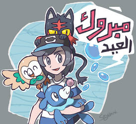 Rowlet, Litten and Popplio by Seyanni