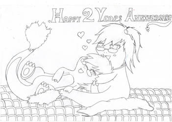 Happy 2nd Year Anniversary - lineart by Kerorowong