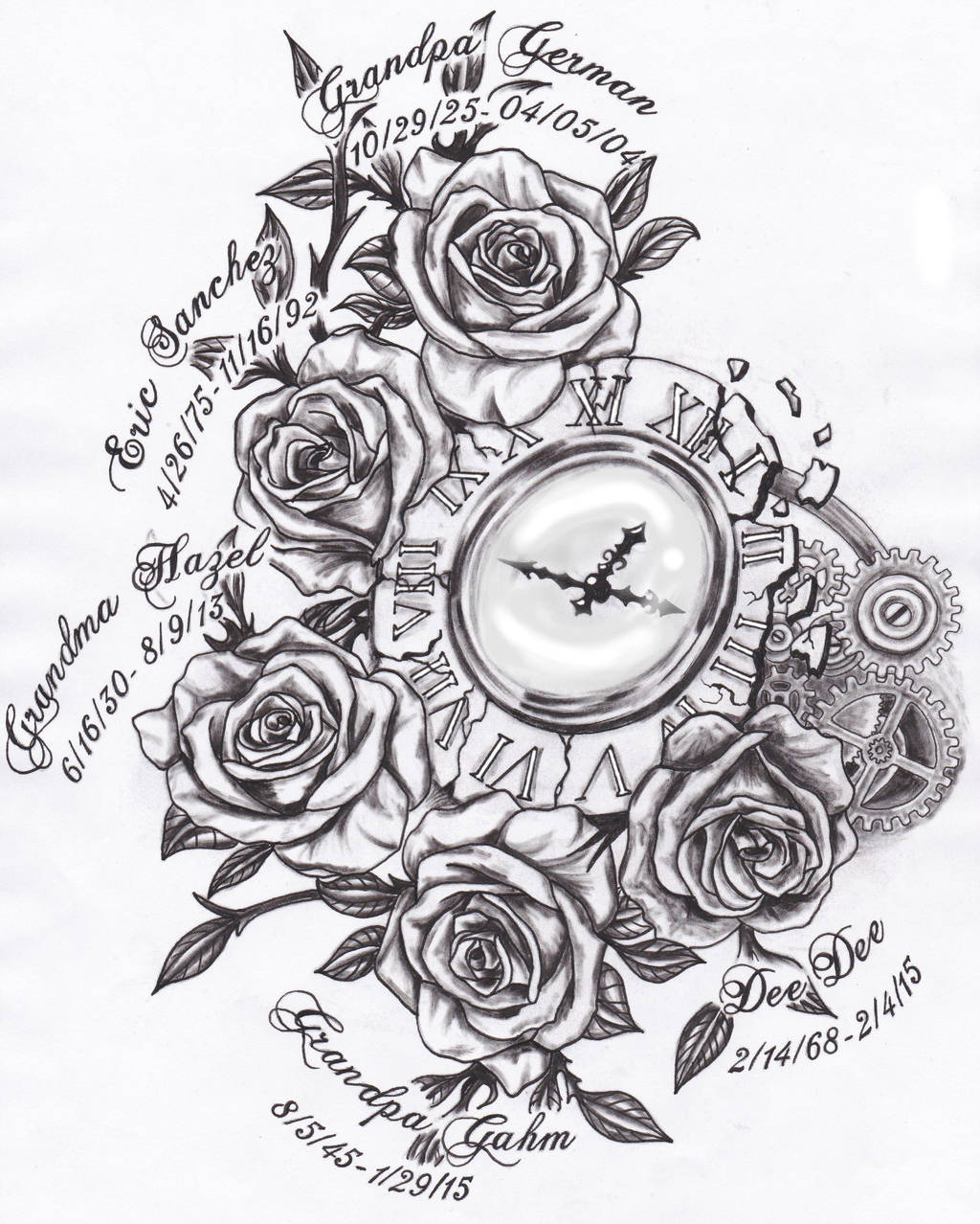60369dbf68a64 Broken Clock And Roses Tattoo Design By Spellfire42489 On Deviantart