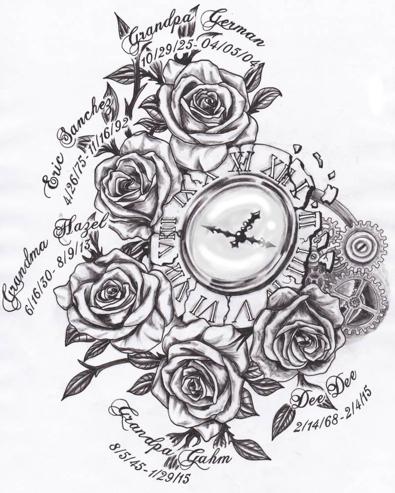 Broken Clock And Roses Tattoo Design By Spellfire42489 On Deviantart