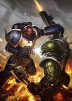Games Workshop art test - Space Marine vs Orc by N-Y-O