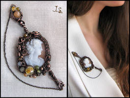 Falerna cameo brooch by JuliaKotreJewelry
