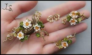 Jewelry set Summer pond by JuliaKotreJewelry