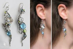 Long dissymetric silver earrings Enchanted pond by JuliaKotreJewelry
