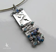 Long silver pendant The hues of the sea by JuliaKotreJewelry