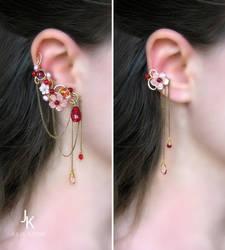 Winter plum wine ear cuffs by JuliaKotreJewelry