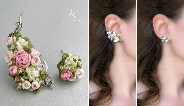 Silver ear cuff and stud Spring melody by JuliaKotreJewelry