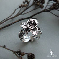 Cast silver twig rose ring by JuliaKotreJewelry