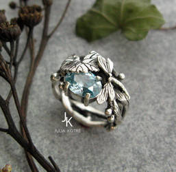 Dragonfly lily pad silver cast ring by JuliaKotreJewelry