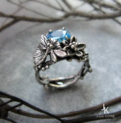 Cast silver dragonfly lily ring set by JuliaKotreJewelry
