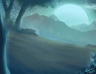 Night mountains by Zyephens-Insanity