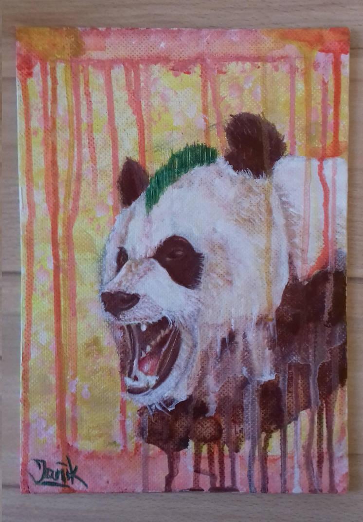 Rebel Panda vol.2 (acrylic painting on a board) by basgroll