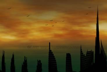 Dubai Skyline - Silhouette by LaxmiJayaraj