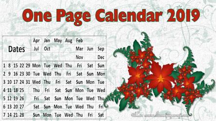 One Page Calendar 2019 by LaxmiJayaraj