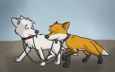 Walking a fox by LeeyFox
