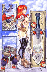 RED SONJA PAGE WIP by ONELOUSYCAT