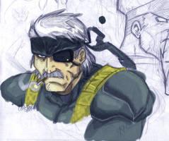 Metal Gear 4 - Old Snake by ONELOUSYCAT