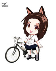CHIBI GIRL AND BIKE by javisan1976