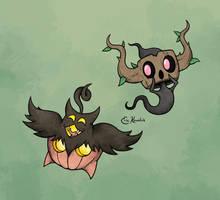 Pumpkaboo and Phantump by Monster-Man-08