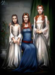 asoiaf: Arya, Catelyn, Sansa by MathiaArkoniel