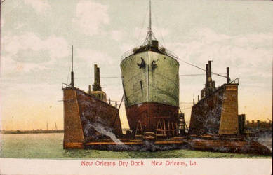 Ship in Dry Dock, New Orleans LA by Yesterdays-Paper